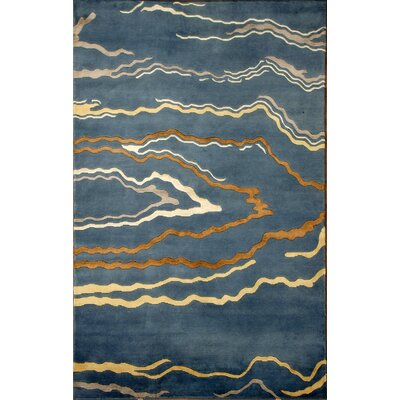 Soho Hand-Knotted Blue/Ivory Area Rug Rug Size: 5 x 8