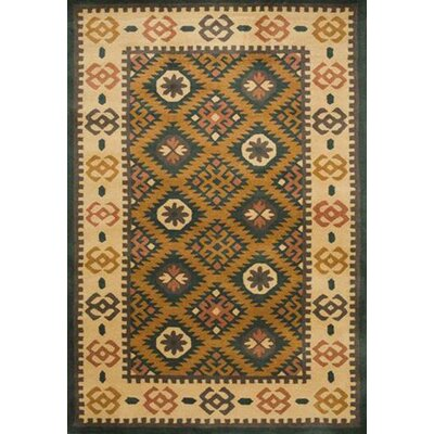 Southwest Hand-Tufted Mineral Green/Beige Area Rug Rug Size: 5 x 8