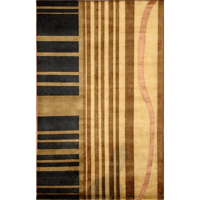 Soho Hand-Knotted Beige/Brown Area Rug Rug Size: 5 x 8