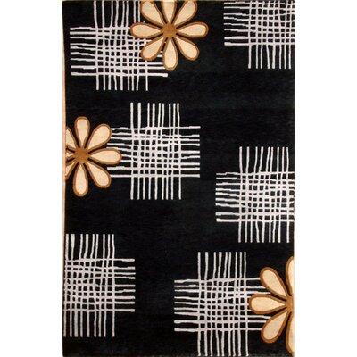 Soho Hand-Knotted Black/Ivory Area Rug Rug Size: 5 x 8