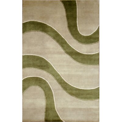 Soho Hand-Knotted Ivory/Green Area Rug Rug Size: 5 x 8