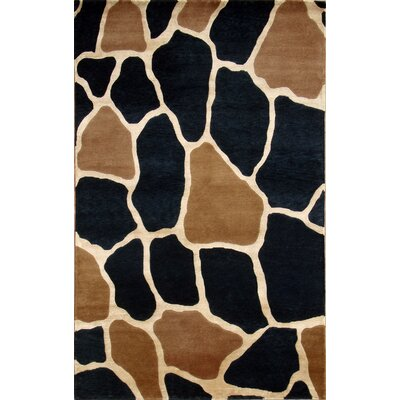 Soho Hand-Knotted Beige/Black Area Rug Rug Size: 5 x 8