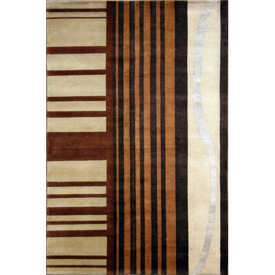 Soho Hand-Knotted Ivory/Brown Area Rug Rug Size: 5 x 8
