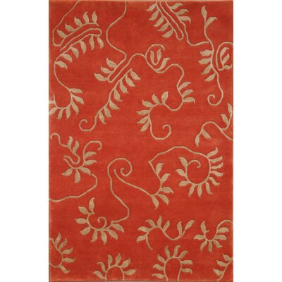 Soho Hand-Knotted Rust Beige Area Rug Rug Size: 8 x 10