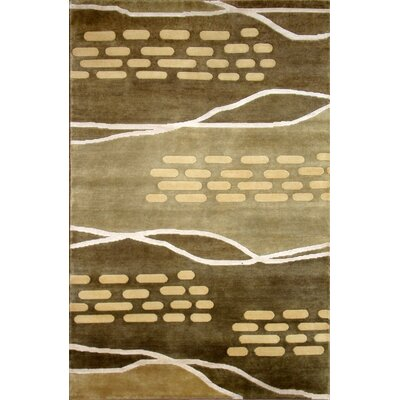 Soho Hand-Knotted Green/Beige Area Rug Rug Size: 8 x 10