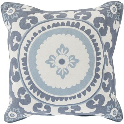 Moroccan Cotton Throw Pillow Size: 20 H x 20 W x 5 D, Color: Cobalt, Filler: Down