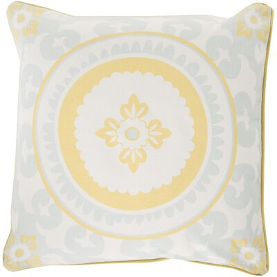 Moroccan Cotton Throw Pillow Size: 20 H x 20 W x 5 D, Color: Butter / Sky Blue, Filler: Down