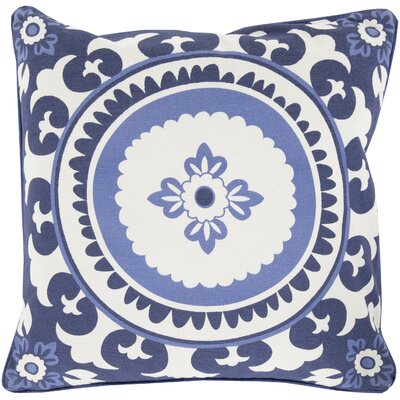 Moroccan Cotton Throw Pillow Size: 20 H x 20 W x 5 D, Color: Sky Blue, Filler: Down