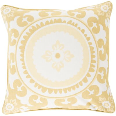 Moroccan Cotton Throw Pillow Size: 18 H x 18 W x 4 D, Color: Butter / Sky Blue, Filler: Down