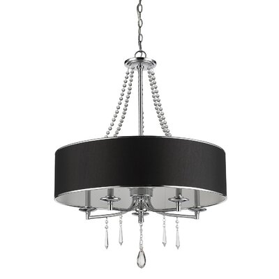 Elise 5-Light Drum Chandelier Shade Color: Black Tuxedo