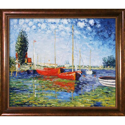 Red Boats at Argenteuil by Claude Monet Framed Painting CST10572 13739467