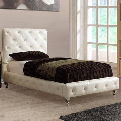 Upholstered Platform Bed Size: Twin, Color: White
