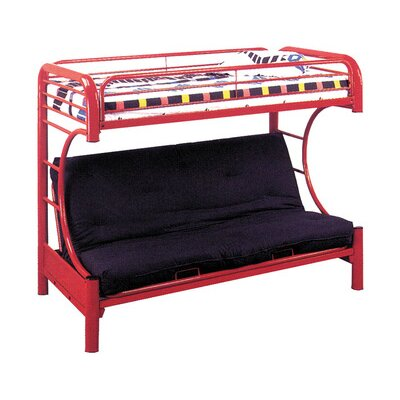 Twin over Full Futon Bunk Bed Color: Red