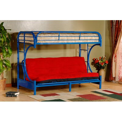 Twin over Full Futon Bunk Bed Color: Blue
