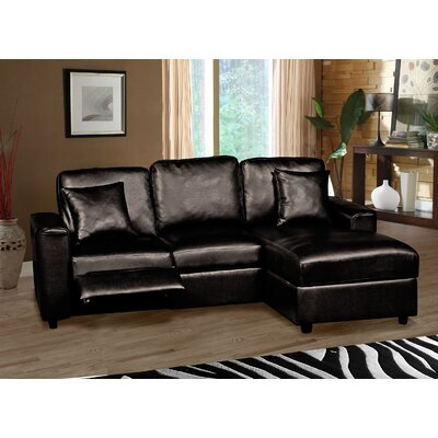 Lillian Reclining Sectional Upholstery: Black