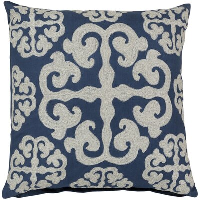 Lush Lattice Throw Pillow Size: 18, Color: Mediterranean Blue / Papyrus, Filler: Down