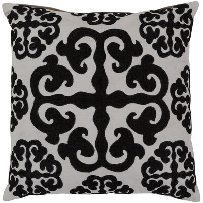 Lush Lattice Throw Pillow Size: 18, Color: White / Caviar, Filler: Polyester