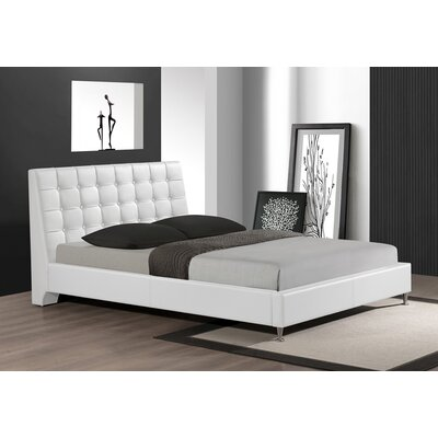 Belle Upholstered Platform Bed Size: Queen, Finish: White