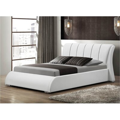 Courtney Upholstered Panel Bed Size: Queen, Color: White