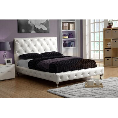 Avaline Upholstered Panel Bed Size: King, Color: White