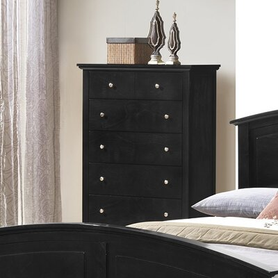 Sharpsburg 5 Drawer Chest Color: Black
