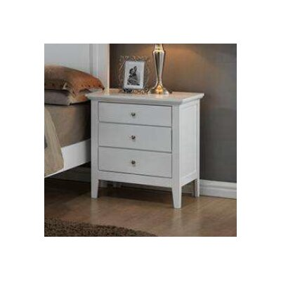 Taube 3 Drawer Nightstand Color: White