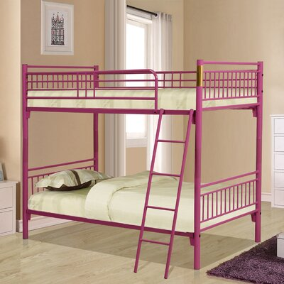 Twin Over Twin Bunk Bed Color: Fuchsia