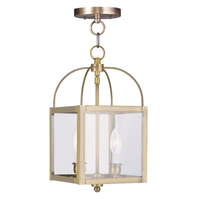 Brundidge Convertible 2-Light Foyer Pendant Finish: Bronze, Glass Type: Clear