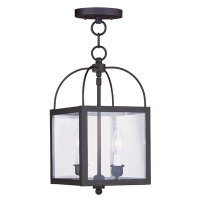 Brundidge Convertible 2-Light Foyer Pendant Finish: Antique Brass, Glass Type: Seeded