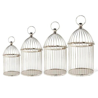 4 Piece Metal Decorative Bird Cages with Handle CST38494 27607267