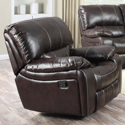 Banner Manual Recliner Upholstery: Dark Brown