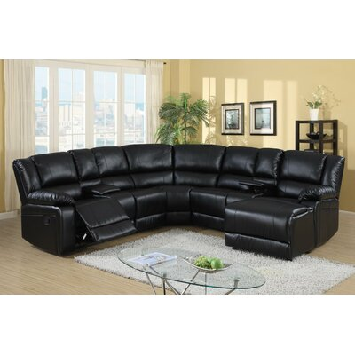 Cadence Reclining Sectional Upholstery: Black