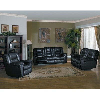 Cambridge 3 Piece Reclining Sofa, Loveseat and Chair Set Upholstery: Black