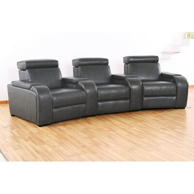 Meadows Home Theater Recliner (Row of 3) Type: Power, Upholstery: Gray