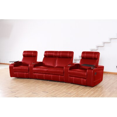 Riverton Home Theater Recliner (Row of 4) Upholstery: Red, Type: Manual