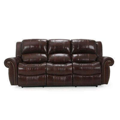 Gretna Leather Reclining Sofa Upholstery: Burgundy