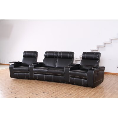 Riverton Home Theater Recliner (Row of 4) Type: Power, Upholstery: Black