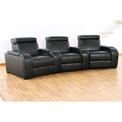 Meadows Home Theater Recliner (Row of 3) Upholstery: Black, Type: Power