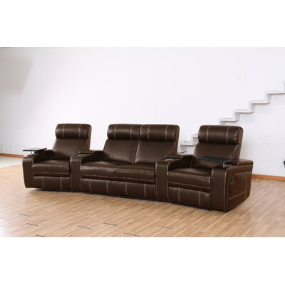 Riverton Home Theater Recliner (Row of 4) Type: Power, Upholstery: Brown