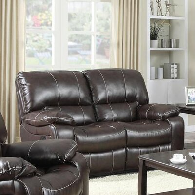 Banner Reclining Loveseat Upholstery: Dark Brown