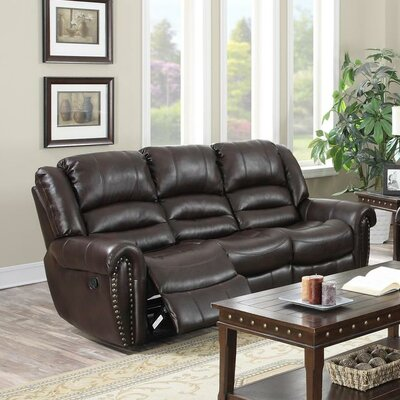 AbbieReclining Sofa Upholstery: Burgundy