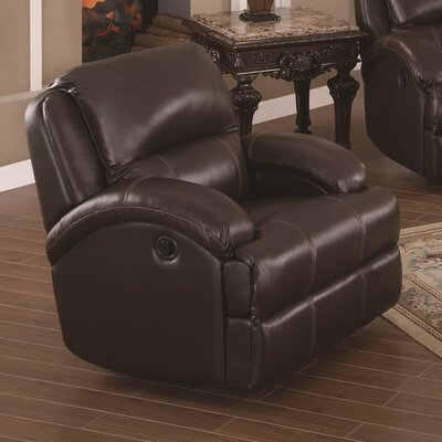 Elwin Manual Glider Recliner Upholstery: Brown