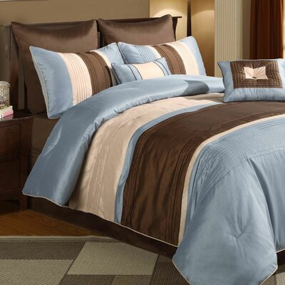Wildon Home Maxwell Blue / Brown 8 Piece Comforter Set - Size: King at Sears.com