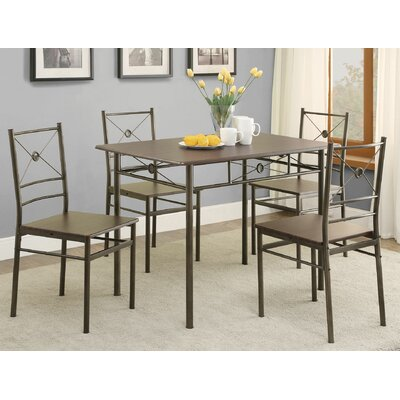 5 Piece Dining Set Finish Walnut