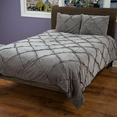 Diondra 3 Piece Quilt Set Size: Queen, Color: Charcoal