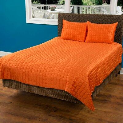 3 Piece Quilt Set Color: Orange, Size: Queen