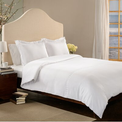 Rings 3 Piece Duvet Set Size: Queen, Color: White