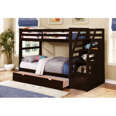 Cosmo Twin Bunk Bed with Trundle and Storage Finish: Espresso