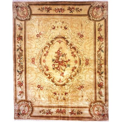 Hand-Knotted Beige Area Rug Rug size: Runner 26 x 8