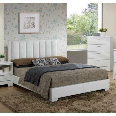 Moderno Upholstered Panel Bed Size: Full, Color: White
